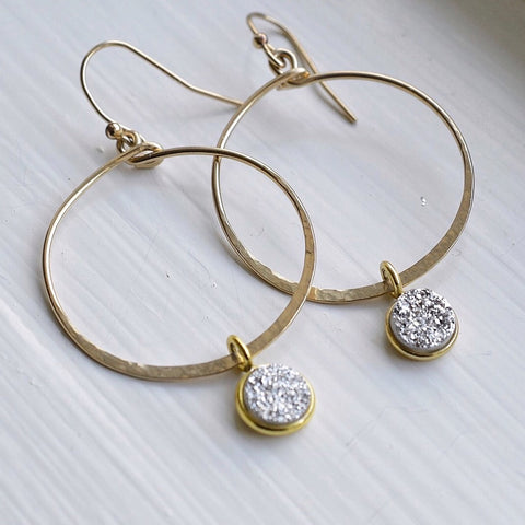 Gold Hammered Hoop Earrings with Silver Druzy Drops - Pink Moon Jewelry