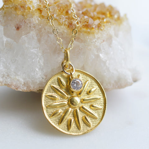 Shine like the Sun Gold Coin Necklace - Pink Moon Jewelry