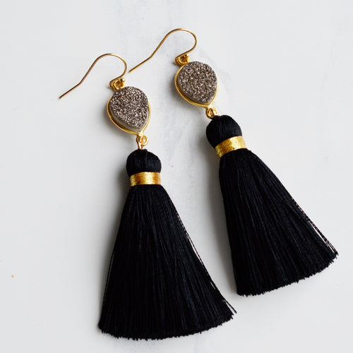 Black Tassel and Druzy Earrings - Pink Moon Jewelry
