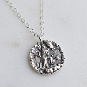 Aquarius - Silver Zodiac Coin Necklace - Pink Moon Jewelry
