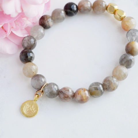 Chocolate Moonstone Stretch Bracelet with Gold Lotus Charm - Pink Moon Jewelry