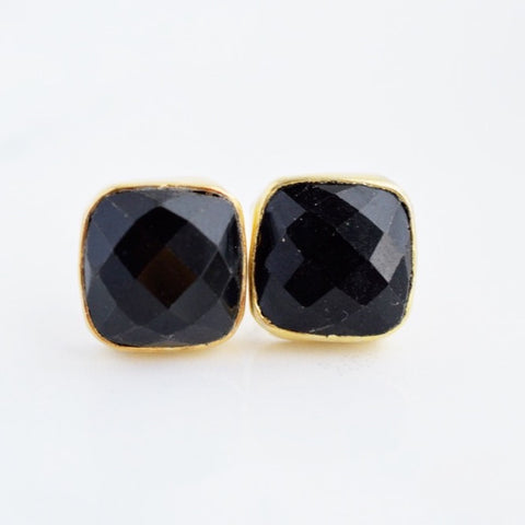 Black Onyx Stud Earrings - Pink Moon Jewelry