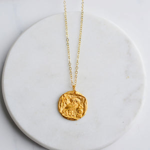 Athena Gold Coin Necklace - Pink Moon Jewelry