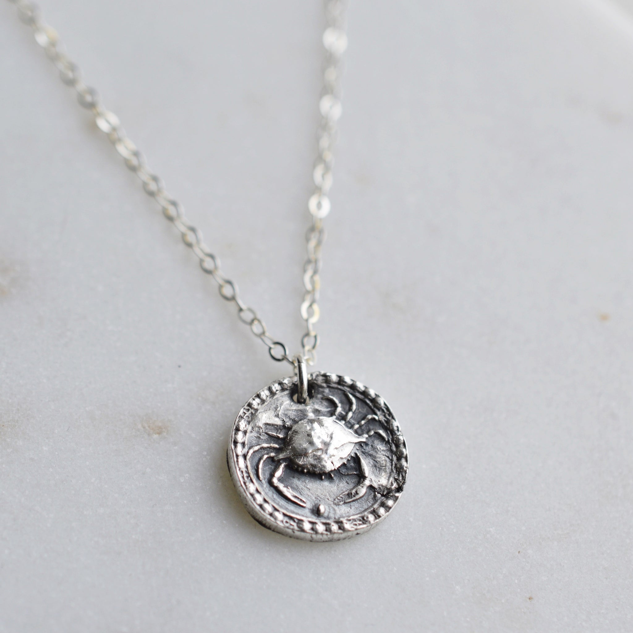 Cancer - Silver Zodiac Coin Necklace - Pink Moon Jewelry