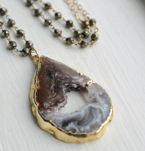 Agate Druzy Slice Pendant Long Necklace - Pink Moon Jewelry