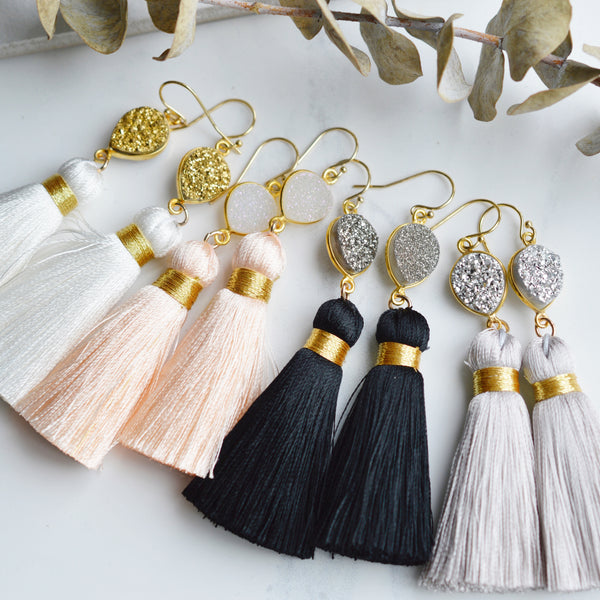 Grey Silk Tassel and Druzy Earrings - Pink Moon Jewelry