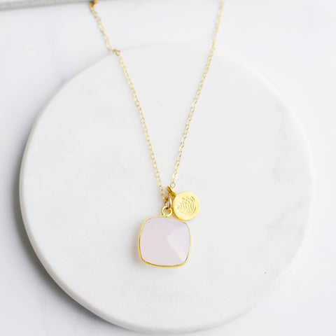 Love that Grows Rose Quartz Gold Necklace - Pink Moon Jewelry