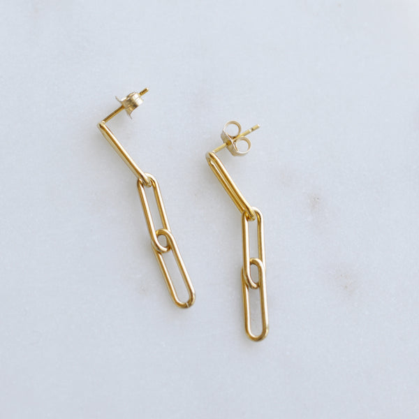 Paperclip Link Earrings - Pink Moon Jewelry