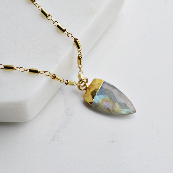 Labradorite Spear Gold Necklace - Pink Moon Jewelry