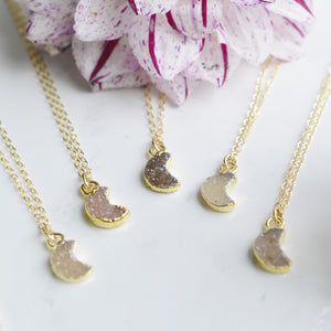 Druzy Crescent Moon Gold Necklace - Pink Moon Jewelry