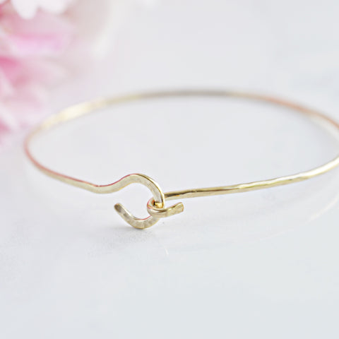 Gold Hammered Bracelet Cuff - Pink Moon Jewelry