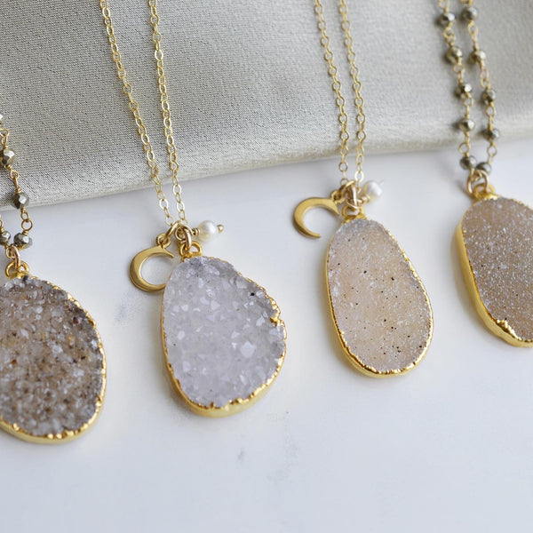 Organic Druzy Pendant on Long Gold Chain - Pink Moon Jewelry