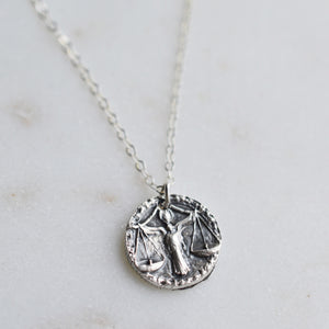 Libra - Silver Zodiac Necklace - Pink Moon Jewelry
