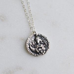 Virgo - Silver Zodiac Coin Necklace - Pink Moon Jewelry