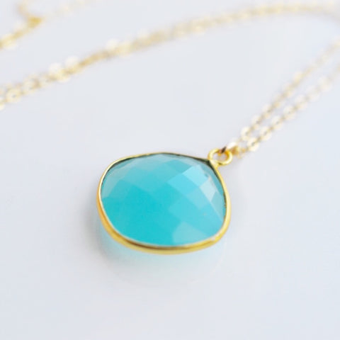 Serenity Aqua Chalcedony Gold Necklace - Pink Moon Jewelry