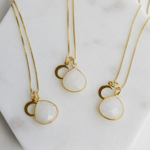 Moonstone and Crescent Moon Gold Necklace - Pink Moon Jewelry