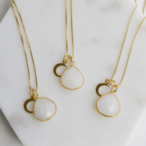 Moonstone and Crescent Moon Gold Necklace