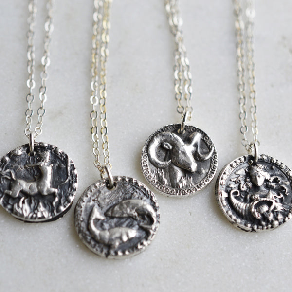 Leo - Silver Zodiac Coin Necklace - Pink Moon Jewelry