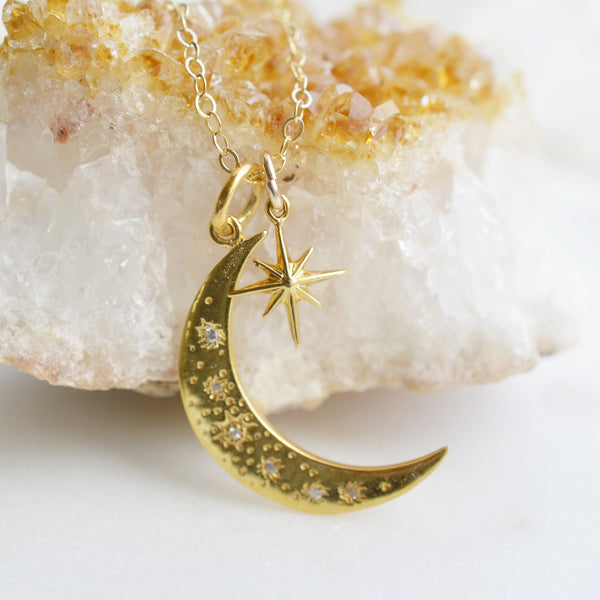 Stella Moon and Star Gold Necklace - Pink Moon Jewelry
