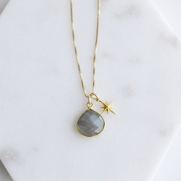 Labradorite and Star Gold Necklace - Pink Moon Jewelry