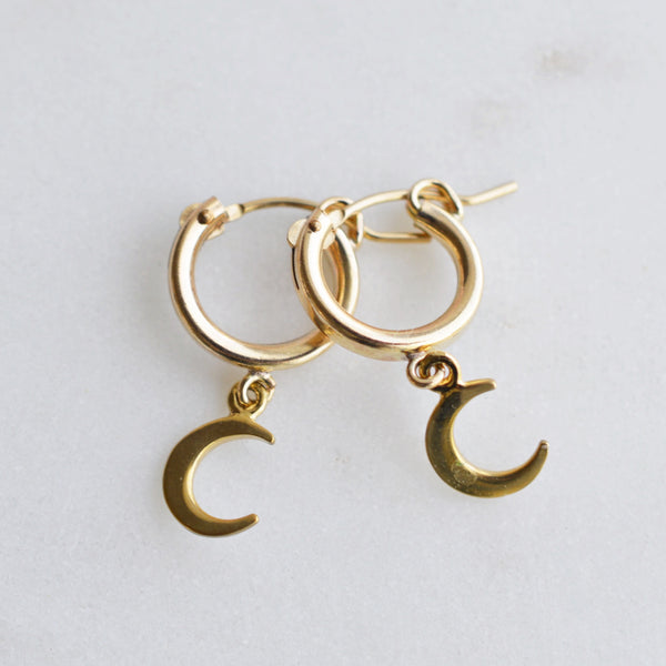 Crescent Gold Huggies - Pink Moon Jewelry