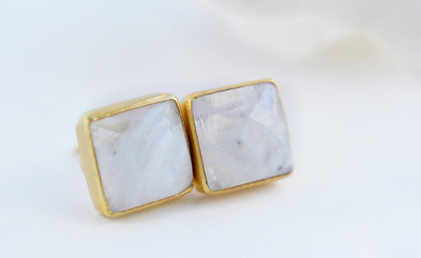 Moonstone Stud Earrings - Pink Moon Jewelry