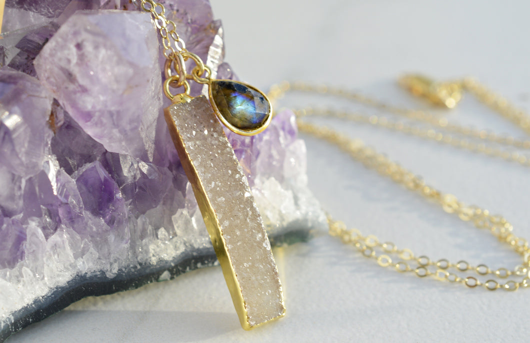 Long Gold Druzy Necklace with Labradorite Charm - Pink Moon Jewelry