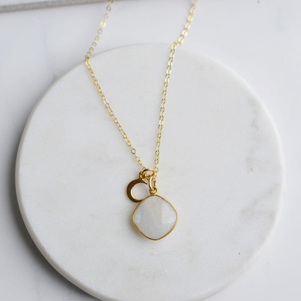 Goddess Moonstone Gold Necklace - Pink Moon Jewelry