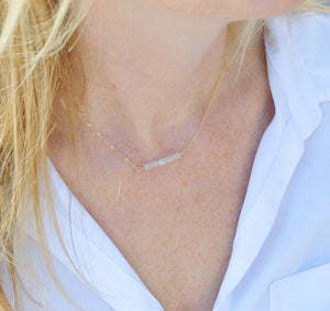 Labradorite Gemstone Bar Necklace - Pink Moon Jewelry