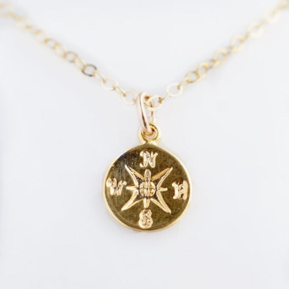 Compass Gold Necklace - Pink Moon Jewelry