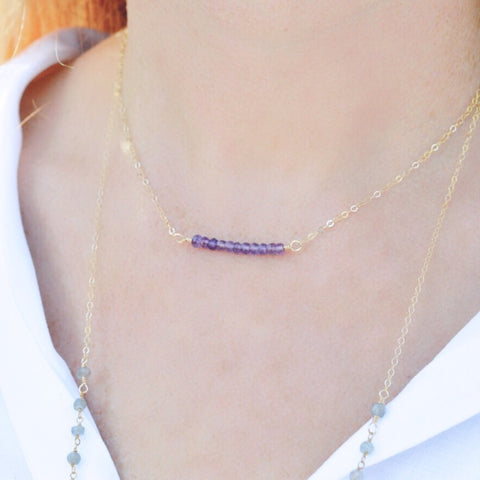 Amethyst Bar Necklace - Pink Moon Jewelry