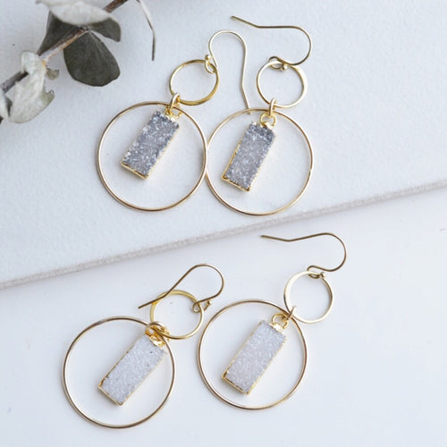 Gold Druzy Hoops - Pink Moon Jewelry