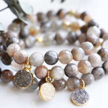 Chocolate Moonstone Stretch Bracelet with Druzy Charm - Pink Moon Jewelry