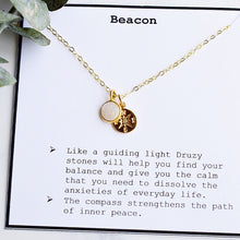 """Beacon"" Necklace with White Rainbow Druzy - Pink Moon Jewelry"