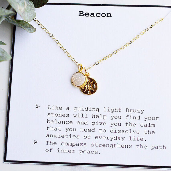 Beacon Gold Necklace with Druzy Stone - Pink Moon Jewelry