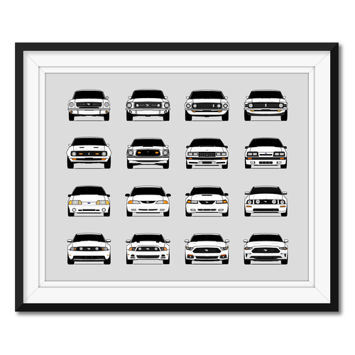 Ford Mustang Generations/History Print (Landscape)