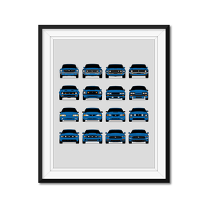 Ford Mustang Generations/History Print 2