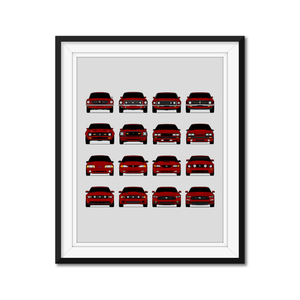 Ford Mustang Generations/History Print