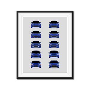 Mitsubishi Lancer Evolution Generations/History Print