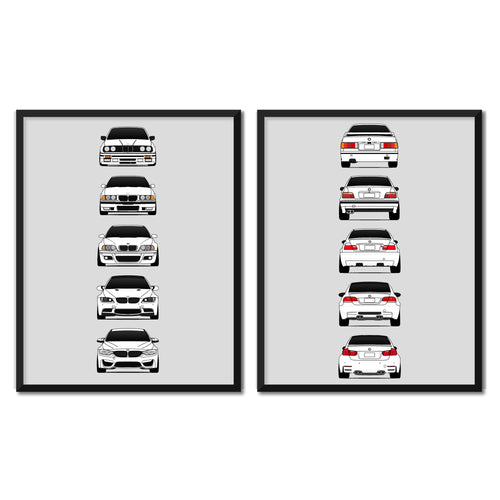 BMW M3 Generations/History Front and Rear Print Set