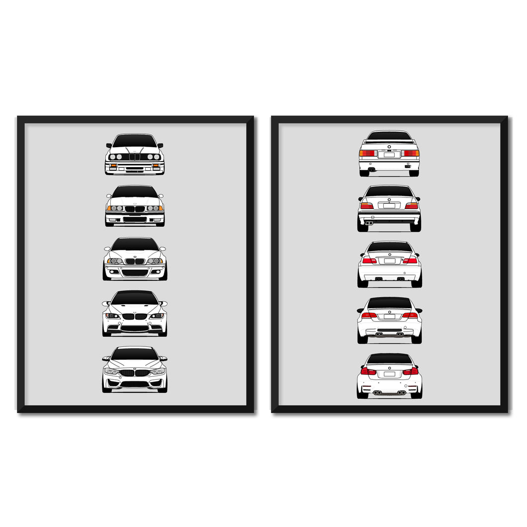 BMW M3 Generations/History Front and Rear Print Set (White)