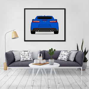 Chevy Camaro SS 6th Generation Print (2016-2018, Rear)