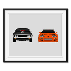 Dodge Charger and Toyota MK4 from the Fast and the Furious Print