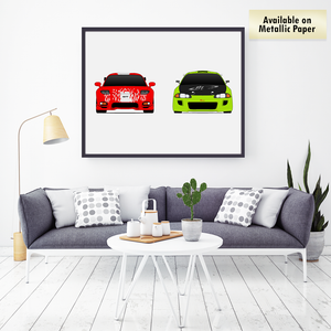 Mazda RX-7 and Mitsubishi Eclipse from the Fast and the Furious Print