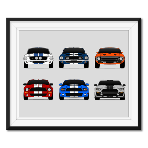 Shelby GT500 Ford Mustang Generations/History Print (3x2)