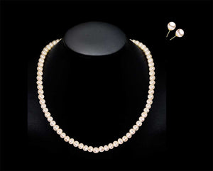 Genuine Freshwater Pearl Necklace & Earrings Set