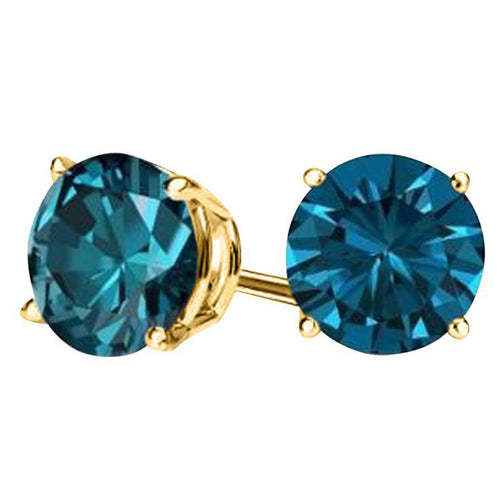 2.00 ct. Genuine London Blue Topaz Stud Earrings Solid 14Kt Gold
