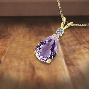 Ladies Amethyst and Diamond Pendant Necklace in 14k Yellow Gold