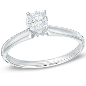 Diamond Solitaire (AGI Certified SI2 .20CT) Engagement & Promise Ring in 10K White Gold