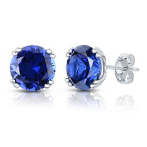 Lab Created Blue Sapphire Stud Earrings in 14K White Gold